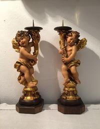 木彫りの天使のキャンドルスタンド2体セットsold out! - スペイン・バルセロナ・アンティーク gyu's shop