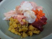 鶏いろいろ7日目安納芋うずら卵 - ワンワンディッシュ ごちそうさま