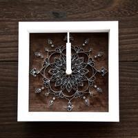 フラワー曼荼羅アート▫︎壁掛け時計【ウォールナット】 - BEAN ART