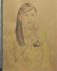 「海辺のキッチン倶楽部もく」でワインを飲む女性 - 海辺のキッチン倶楽部もく