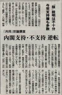 安倍内閣支持率が下落し、不支持が逆転 - ながいきむら議員のつぶやき(日本共産党長生村議員団ブログ)