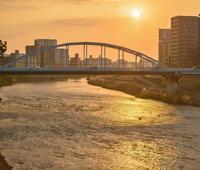 ✔ 白川の夕暮れ①銀座橋=熊本市 - チャレンジ! 日々の散歩道