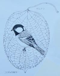#木の葉絵#leafart 』猿梨・四十雀 - スケッチ感察ノート (Nature journal)