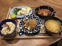 【献立】豚肉と厚揚げの味噌煮、野菜のグリル、茄子とトマトのチーズグラタン、豆腐と長ねぎのお味噌汁、舞茸ご飯 - kajuの■今日のお料理・簡単レシピ■
