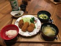 【献立】コロッケ、茄子の生姜味噌煮、間引き菜の卵とじ、白菜のお味噌汁、日本酒 - kajuの■今日のお料理・簡単レシピ■
