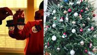 アメリカのクリスマスツリー:高さ約3メートルの生木のツリーを光るDIYオーナメントで装飾 - アメリカを自転車でエンジョイ