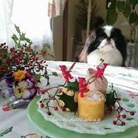 犬ケーキ☆小豆とヨーグルトのクリーム - 狆の茶々丸