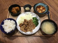 【献立】豚肉の生姜焼き、かぼちゃの煮物、キャベツのマリネ、食べるラー油で麻婆豆腐、大根のお味噌汁 - kajuの■今日のお料理・簡単レシピ■