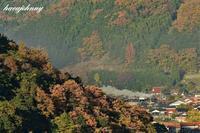 城址の山の奥から~SLやまぐち号重連~ - 夕暮れと蒸気をおいかけて・・・