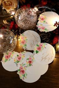薔薇の絵のクリスマスカード☆カルトナージュ同好会とレッスン - 風の家便り