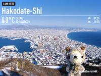 [ぬい撮り] あみぐるみ羊さんと函館山山頂からの雪景色♪ - Smiling * Photo & Handmade 2 動物のあみぐるみ・レジンアクセサリー・風景写真のポストカード