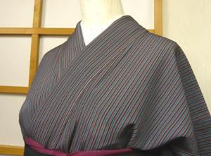 縞の小紋に松の帯 - 今・昔 きもの・おび 悦