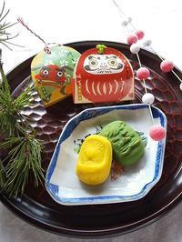 お年賀のお菓子♪ おきあがりこぼし&獅子舞、あも(白小豆) - キッチンで猫と・・・