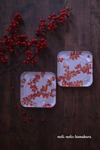 ◆デコパージュ*赤い実のガラストレー - フランス雑貨とデコパージュ&ギフトラッピング教室 『meli-melo鎌倉』
