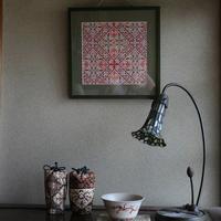 赤布にクロスステッチ - 刺繍や縫い物 生け花と庭仕事