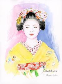 黄色い着物の舞妓さん - 風と雲