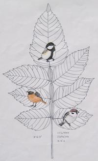 『#木の葉絵#leafart 』白膠木 / 四十雀・尉鶲・雀 - スケッチ感察ノート (Nature journal)