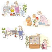 サニクリーン西日本/季刊誌まとめ--家族のイラスト4点 - 女性誌を中心に活動するイラストレーター ★★清水利江子の仕事ブログ