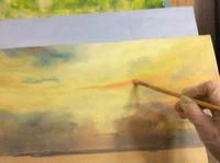 何やら制作中&青く塗っちゃった - ポッと出っスけど杉山ひとみ/水彩画ブログ
