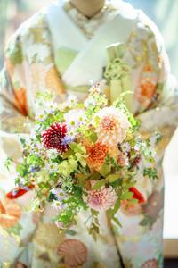 卒花嫁様アルバムホテル椿山荘東京の花嫁様へ和装ダリアのブーケ - 一会 ウエディングの花