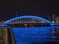 隅田川に掛かる橋 - 青い自転車とともに