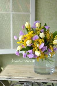 男性に贈る「ミモザ」を使った花束。 - 花色~あなたの好きなお花屋さんになりたい~