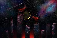 星空と三日月と岩山のブルーロックス -   木村 弘好の「こんな感じかな~」□□□ □□□□ □□ □ブログ□□□