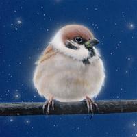 【#毎日一絵チャレンジ】#アクリル画 #おまん獣「スズメ ver.1.2」#メイキング #白銀の鳥展 - junya.blog(猫×犬)リアリズム絵画