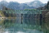 只見線第二橋梁と会津美里町を走るキハ40 - C* 日和