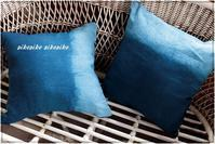 藍染麻のクッション - 今が一番