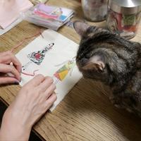 レッスン予定日 - 猫が見学に…。東京大田区駅前のデコパージュ、ソスペーゾトラスパレンテ(3D)中心のクラフト教室Le Chat Noir(ル シャノワール)