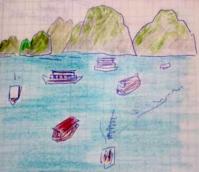 Day3 ハロン湾クルーズ2 - たなかきょおこ-旅する絵描きの絵日記/Kyoko Tanaka Illustrated Diary