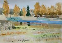 模写・黄金色の林 - ryuuの手習い