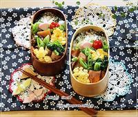葉の花のベーコン巻き弁当とムスカリ・花桃♪ - ☆Happy time☆