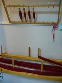 花柄ミニマフラー(赤) - アトリエひなぎく 手織り日記