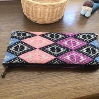 梅の花の長財布 - 手編みバッグと南部菱刺し『グルグルと菱』