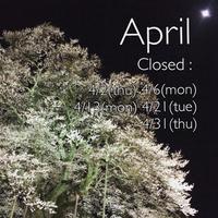 4月の定休日のお知らせ - てのひら日記