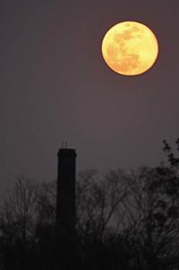 煙突と月 - 萩原義弘のすかぶら写真日記
