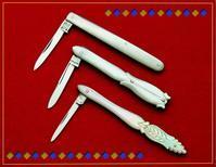 3本の白蝶貝クイルナイフ(アンティーク) - 銀器とナイフに魅せられて