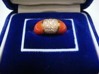 アンティーク珊瑚のデザインリングダイヤ付き - アンティーク(骨董) テンナイン