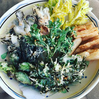 春野菜の天ぷらは春の香り - 玄米菜食 in ニュージャージー