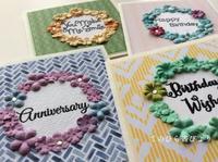 小花を飾った4色の記念日カード - てのひら書びより