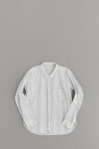 ゴーシュ 100/1リネンコットンプリント シャツ (ホワイト×グレー) - un.regard.moderne