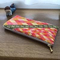 二代目の長財布 - 手編みバッグと南部菱刺し『グルグルと菱』