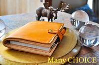 やみつきエルクとEUヌメのロディアメモ帳カバーno13(黄茶)・時を刻む革小物 - 時を刻む革小物 Many CHOICE~ 使い手と共に生きるタンニン鞣しの革