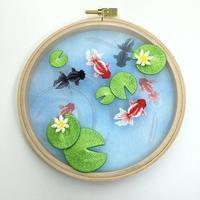 金魚池の刺繍枠飾りϵ( 'Θ' )϶ - ソライロ刺繍
