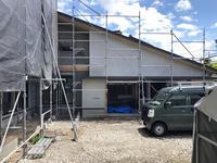 須坂の曲り家の外壁左官の下塗り - 安曇野建築日誌