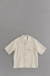 STILL BY HAND Linen Open Collar S/S Shirt (Ecru) - un.regard.moderne