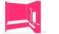 浴室に濃いピンク,黒などを多用している(-1) - 幸せを育む家☆間取りで失敗しない!