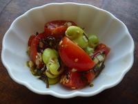 そら豆とミニトマトの塩昆布和え - LEAFLabo